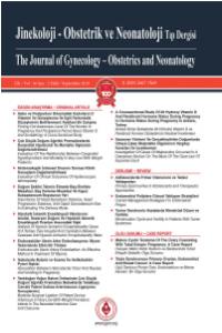 Jinekoloji-Obstetrik ve Neonatoloji Tıp Dergisi
